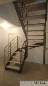 Escalier metal bois deux quart tournant ferro