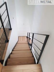 Ferro - escalier quart tournant palier bois