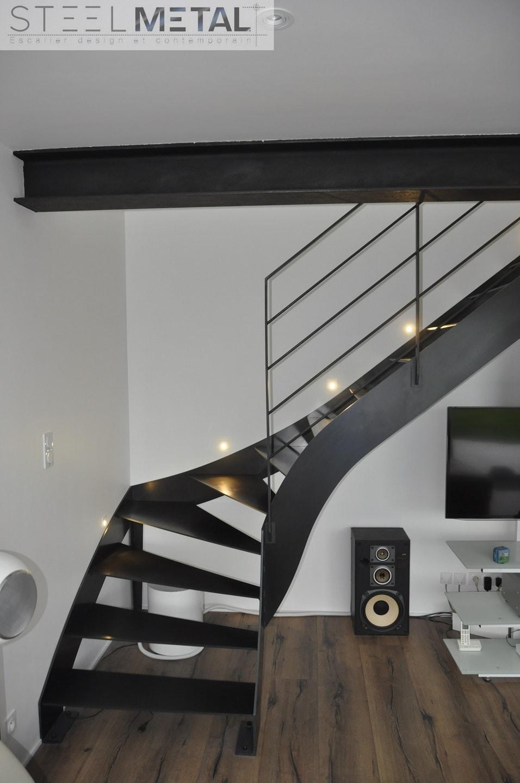 Escalier Quart Tournant En Metal Bois Fabrication Sur
