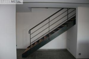 Escalier mixte bois métal droit