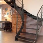 Escalier FERRO metal bois limons lateral droit