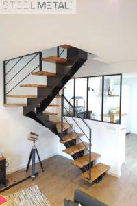 Celik - escalier deux quart tournant et marches bois