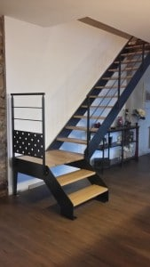 Escalier mixte bois metal