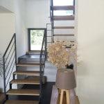 Escalier mixte en métal et bois