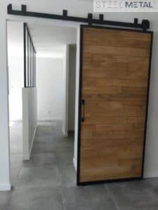 Porte coulissante remplissage bois