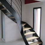 Escalier quart tournant bois metal