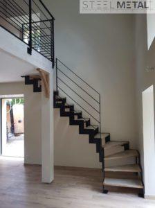 Thep - escalier quart tournant métal avec marches bois