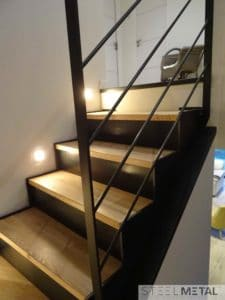 acel - escalier deux quart - contremarches marches bois
