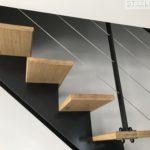 escalier metal et bois droit
