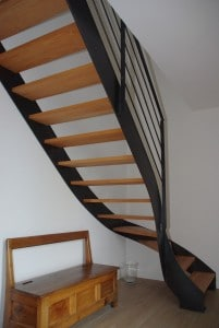 escalier design metal bois