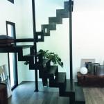 Escalier double quart tournant inox