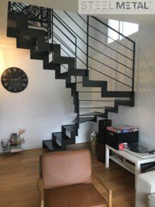 escalier métal deux quart tournant sur mesure