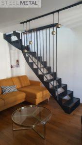 Escalier métal quart tournant acel