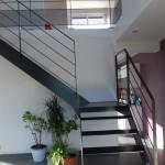 Escalier quart tournant métal palier