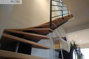Escalier mixte quart tournant design