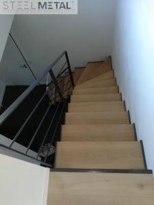 Escalier mixte metal et bois quart tournant