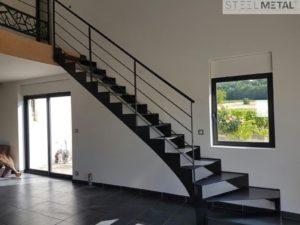 Escalier metal 1-4 tournant acel
