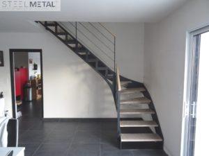 escalier metal bois avec découpe laser