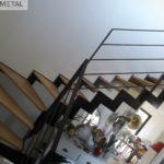 Escalier mixte quart tournant marche en bois