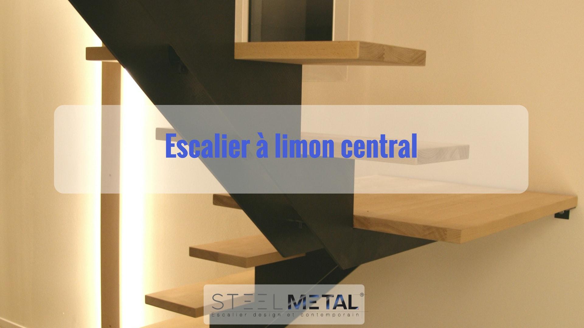 l 39 escalier limon central steelm tal. Black Bedroom Furniture Sets. Home Design Ideas