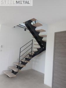 Escalier deux quart tournant - escalier métal et bois - Karfe