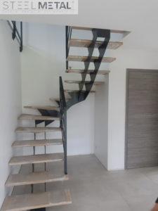 Escalier deux quart tournant - métal et bois - Karfe - Steel Metal