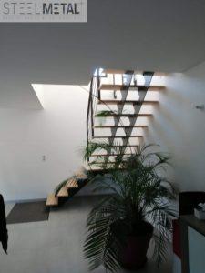 Escalier quart tournant - métal et bois - Karfe - Steel Metal
